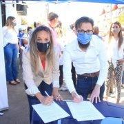 Malena Galmarini, Agustín Simone y Mariel Fernández habilitaron obra cloacal que beneficia a 12 mil vecinos y vecinas de Moreno